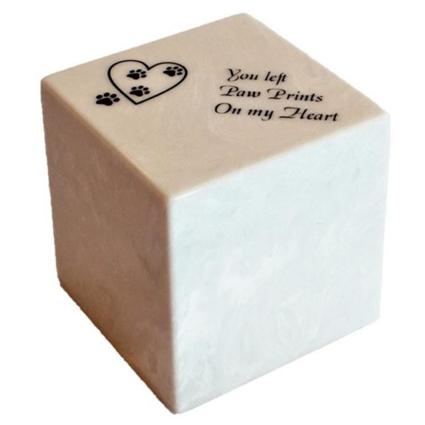 square marble urn with memorial text etched on. you left paw prints on my heart