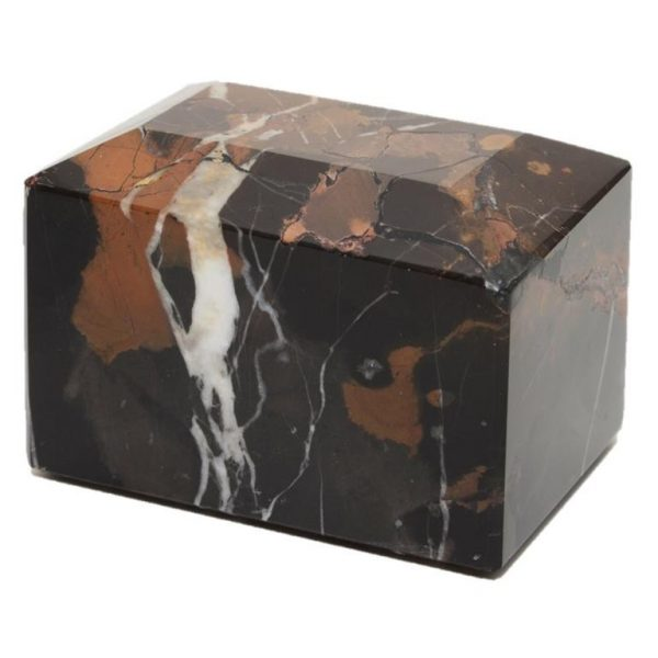 black and gold small marble pet cremation urn or keepsake for ashes