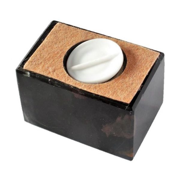 bottom of small marble urn showing where pets ashes go