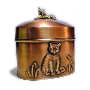 copper urn with cat decoration