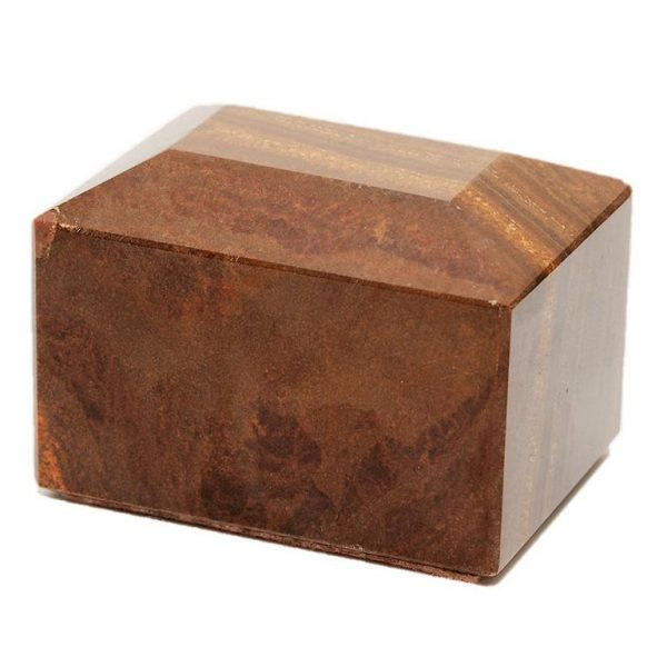 brown small marble pet cremation urn or keepsake for ashes
