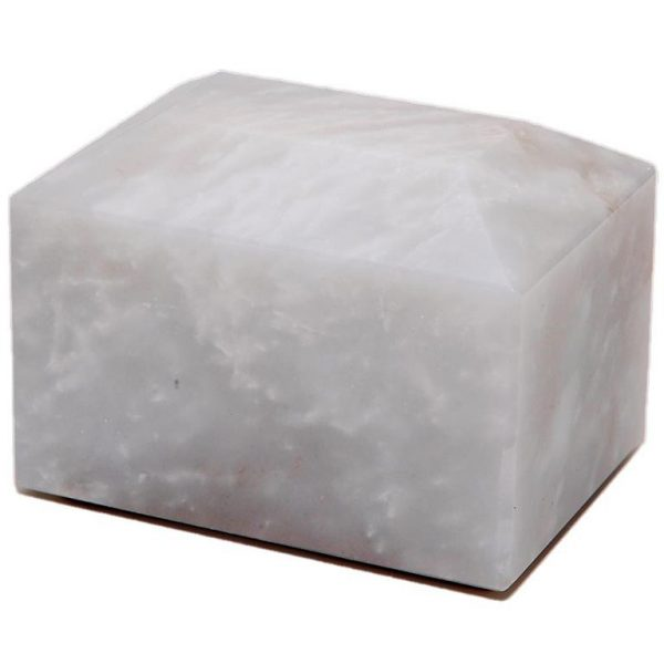 white small marble pet cremation urn or keepsake for ashes