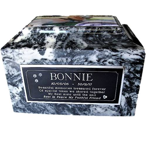Marble Animal Cremation urn with memorial plaque
