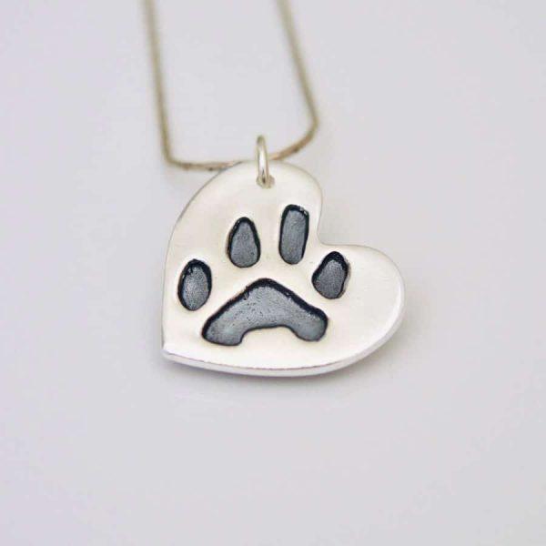 silver paw print pet memorial