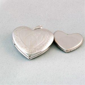 silver heart cremate ash vessel pendant