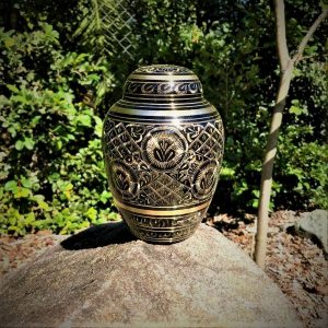 black and gold pet cremation urn