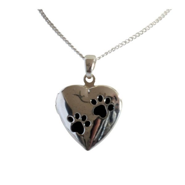 Paw print pet memorial locket