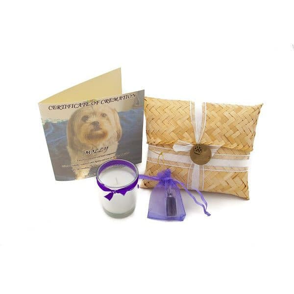 animal cremation package bamboo pouch