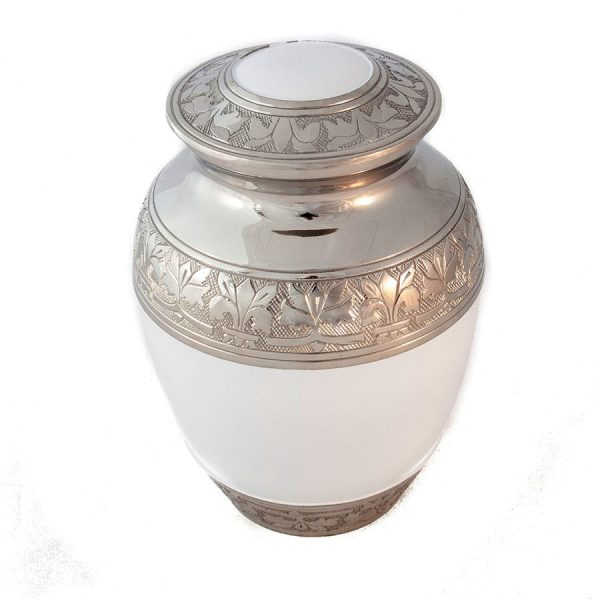 large silver and white pet urn