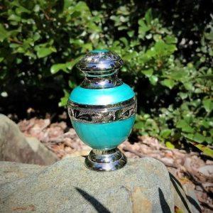 ornamental keepsake pet urn - aqua